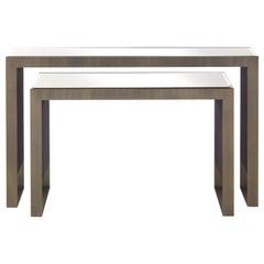 Golden Bridge Small Console Table in Metal and Bronze Mirror by Roberto Cavalli