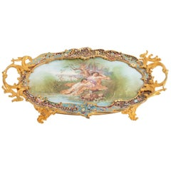 Golden Bronze Cup, Porcelain and Cloisonné, 19th Century