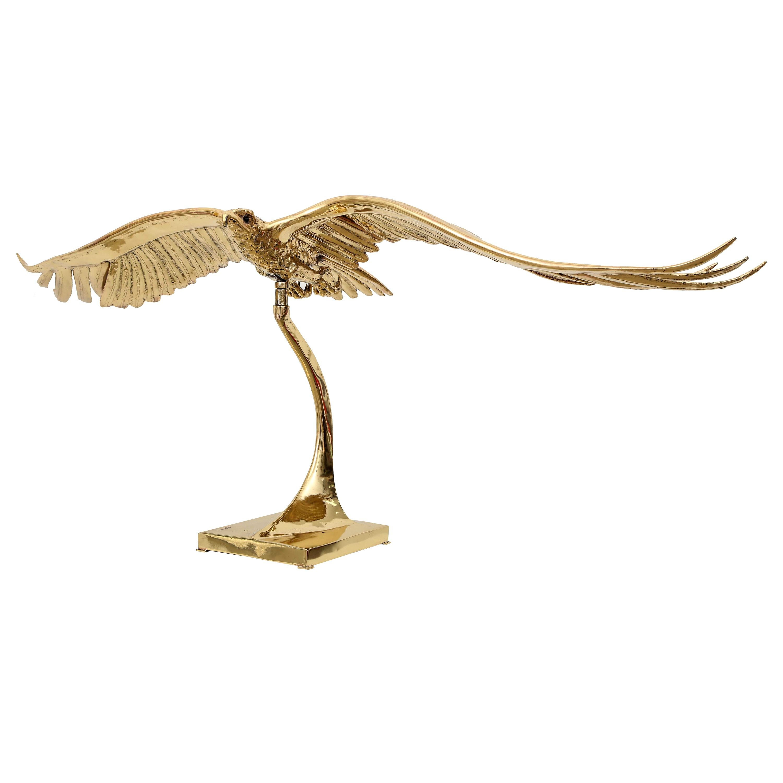 Golden Bronze Sculpture of a Flying Eagle Signed Piece by J. Duval-Brasseur