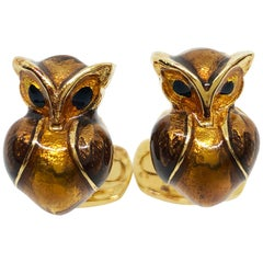 Golden Brown Enameled Owl Shaped Sterling Silver Gold-Plated Cufflinks
