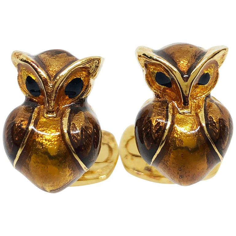 Golden Brown Enameled Owl Shaped Sterling Silver Gold-Plated Cufflinks For Sale