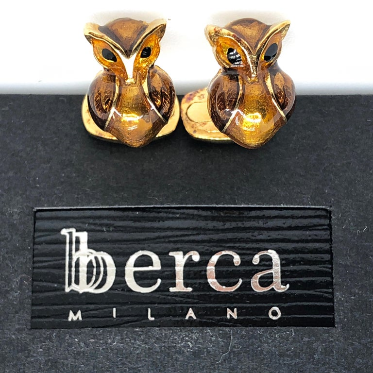 Golden Brown Enameled Owl Shaped Sterling Silver Gold-Plated Cufflinks For Sale 8