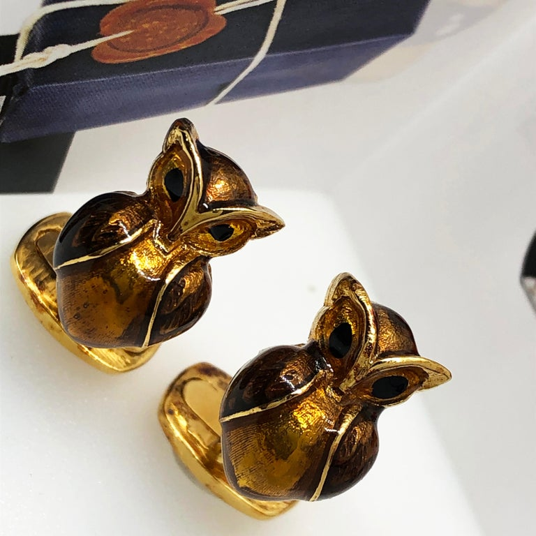 Men's Golden Brown Enameled Owl Shaped Sterling Silver Gold-Plated Cufflinks For Sale