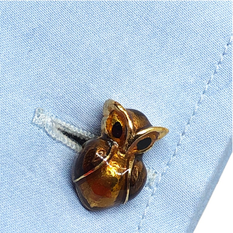 Golden Brown Enameled Owl Shaped Sterling Silver Gold-Plated Cufflinks For Sale 2