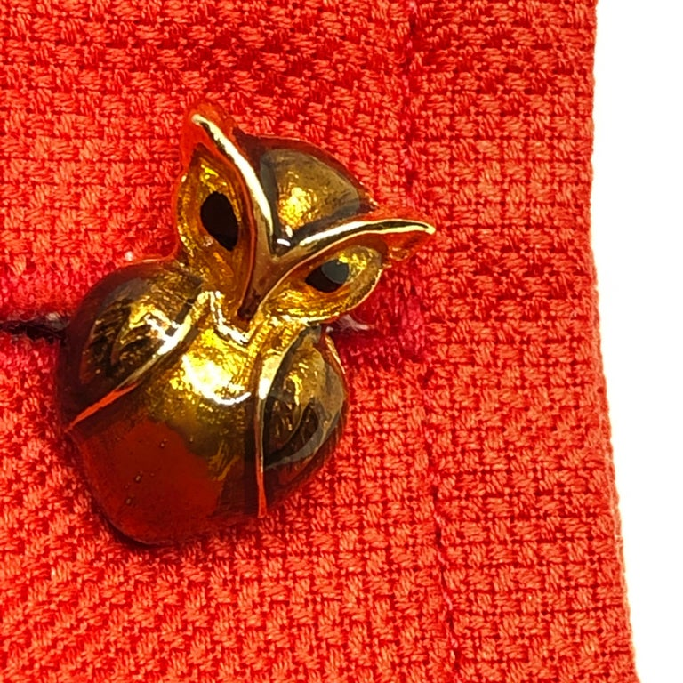 Golden Brown Enameled Owl Shaped Sterling Silver Gold-Plated Cufflinks For Sale 3