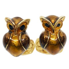 Golden Brown Hand Enameled Owl Shaped Sterling Silver Gold-Plated Cufflinks