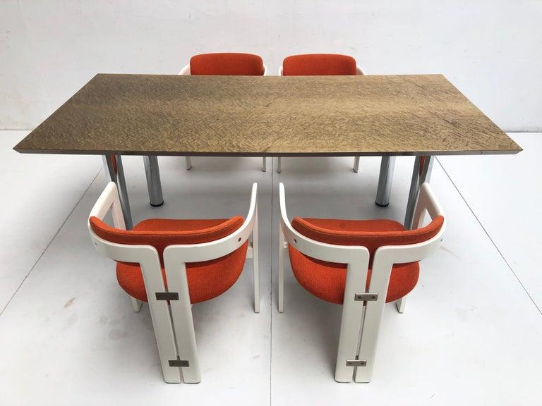 Italian Golden Burlwood Dining table or Desk Giovanni Offredi for Saporiti, 1980s For Sale