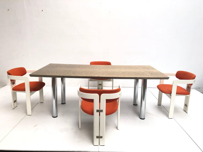 Golden Burlwood Dining table or Desk Giovanni Offredi for Saporiti, 1980s In Good Condition For Sale In bergen op zoom, NL
