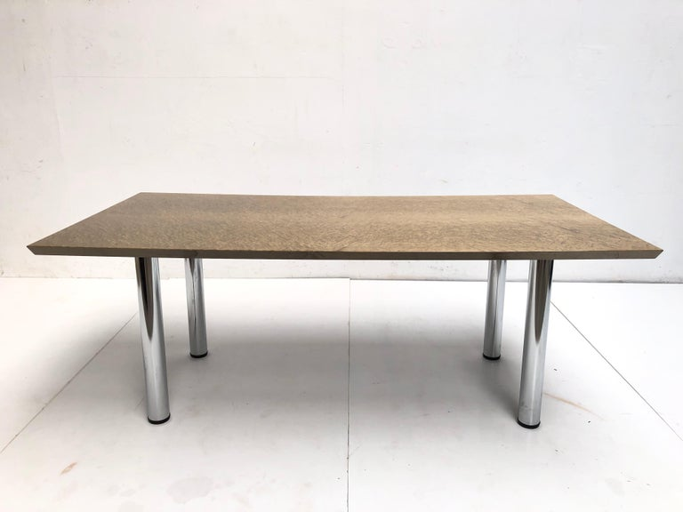 Late 20th Century Golden Burlwood Dining table or Desk Giovanni Offredi for Saporiti, 1980s For Sale