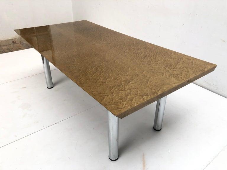 Chrome Golden Burlwood Dining table or Desk Giovanni Offredi for Saporiti, 1980s For Sale