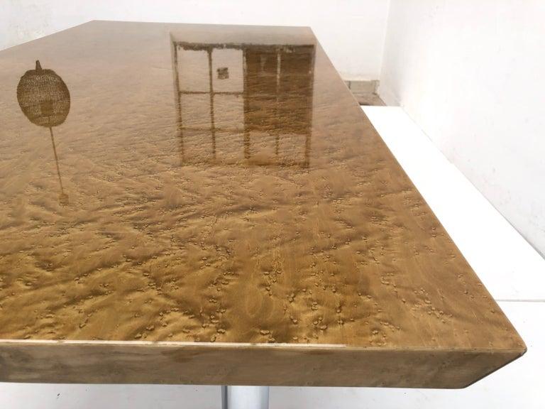 Golden Burlwood Dining table or Desk Giovanni Offredi for Saporiti, 1980s For Sale 1