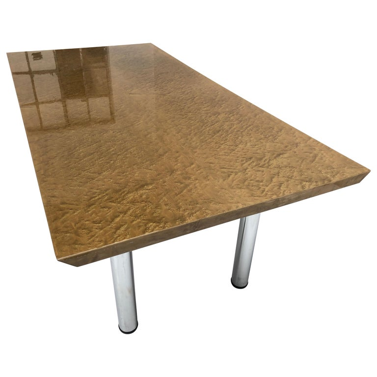 Golden Burlwood Dining table or Desk Giovanni Offredi for Saporiti, 1980s For Sale