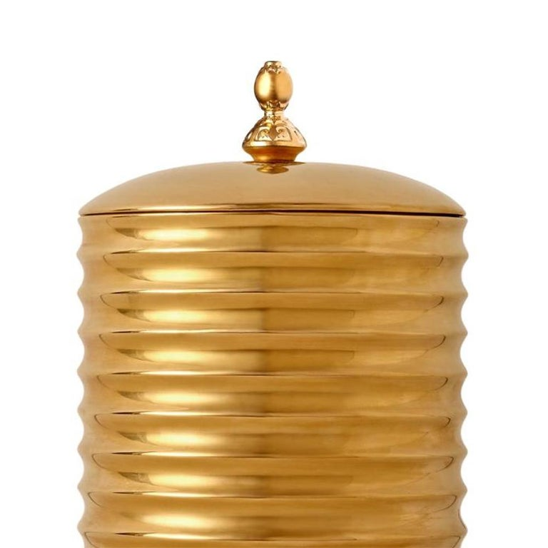 Hand-Crafted Golden Candle Box For Sale