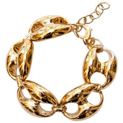 Golden Chain Bracelet 18K Yellow Gold Plated Silver