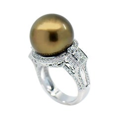 Golden Chocolate Pearl and Diamond Halo Ring, 18 Karat