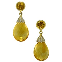 Golden Citrine Dangle Earrings Teardrop Pave' Diamonds Vintage Estate 14K Gold