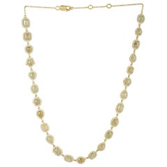 Golden Color Ice Diamond Necklace in 18 Karat Yellow Gold