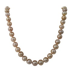 Golden Color South Sea Pearls, 18 Karat Gold