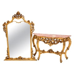 Golden Console with Mirror, Roccoco, France, Mid-20th Century