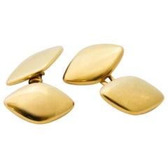Golden Cufflinks in Rhomb Shape