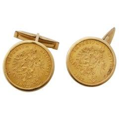 """Golden Cufflinks Made of Ducat """"Franz Josef"""""""