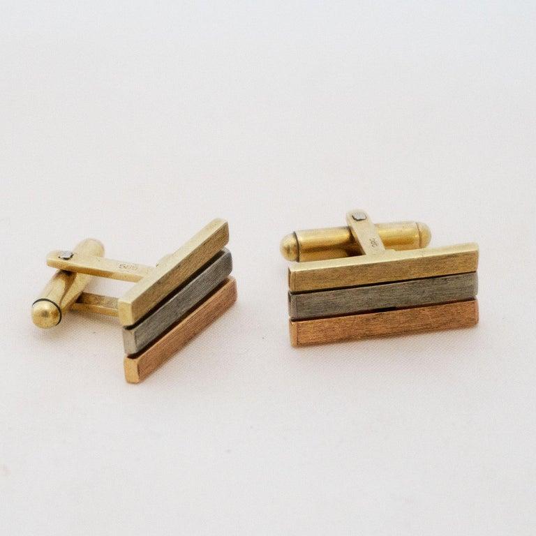 Golden Cufflinks Tricolor In Good Condition For Sale In Berlin, DE