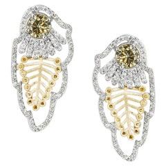 Golden Feather Earrings with Fancy Mocha Diamonds