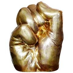 Contemporary 3' Golden Fist Sculpture, Brass  1:1