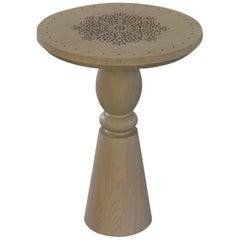 Golden Fleur Side Table in Bleached Oak Finish