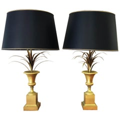 Golden Floral Charles & Fils Table Lamps, 1960s, France