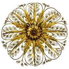 Golden Florentine Flower Shape Flushmount Attributed to Banci Firenze, 1950s