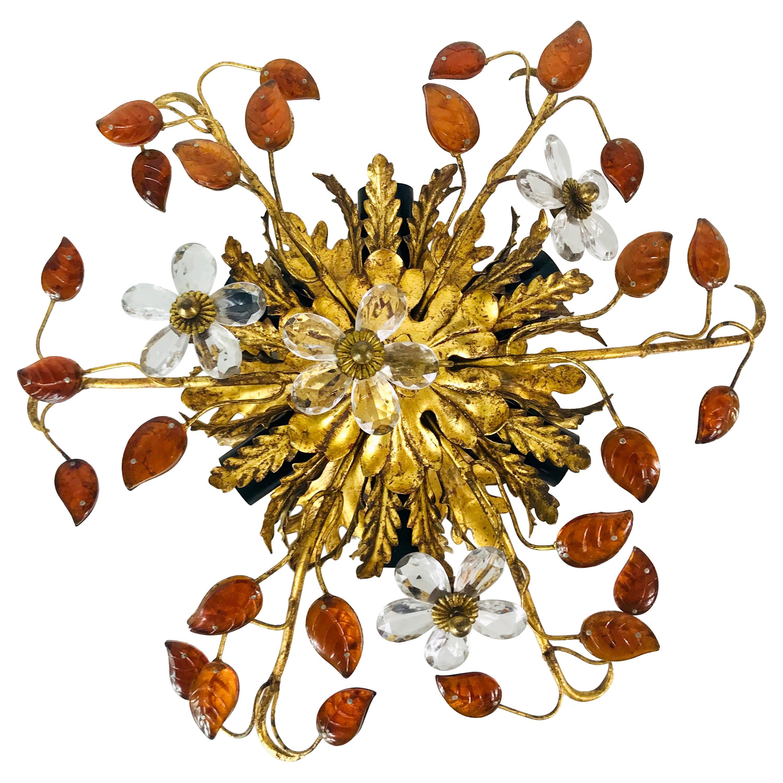Golden Florentine Flower Shape Flush Mount by Banci Firenze, Italy, 1950s