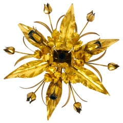 Golden Florentine Flower Shape Flushmount by Hans Kögl, Germany, 1970s