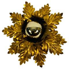 Golden Florentine Flower Shape Flushmount by Banci, Italy, 1970s