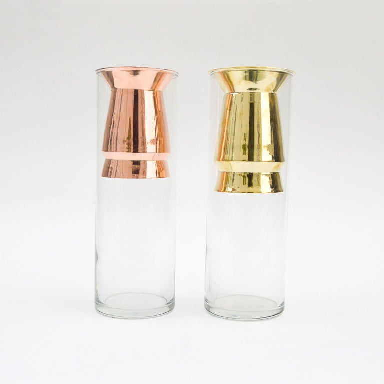 Mexican Golden Flower Vase Set I Cooper and Glass, Handcrafted in México For Sale