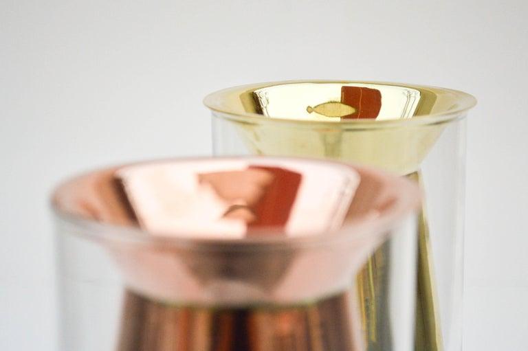 Golden Flower Vase Set I Cooper and Glass, Handcrafted in México For Sale 1