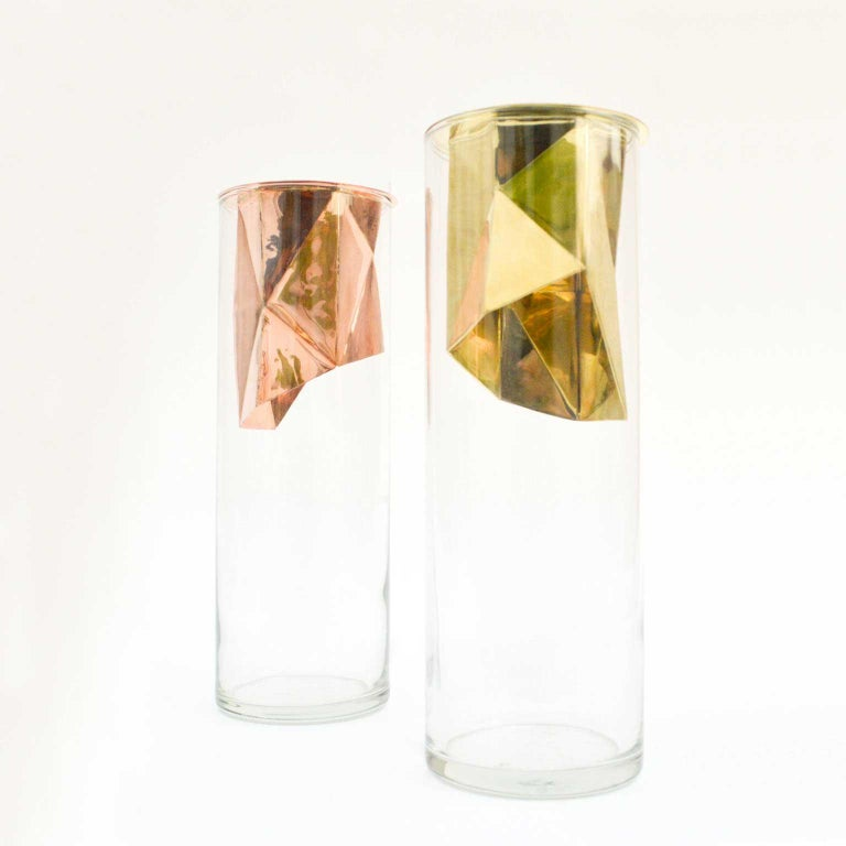 Golden Flower Vase Set I Cooper and Glass, Handcrafted in México For Sale 2