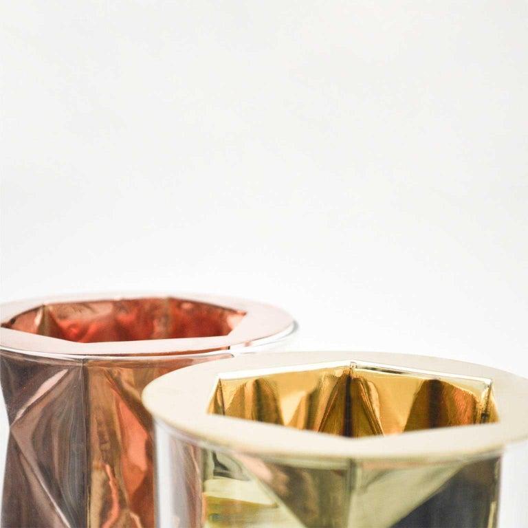 Golden Flower Vase Set I Cooper and Glass, Handcrafted in México For Sale 3