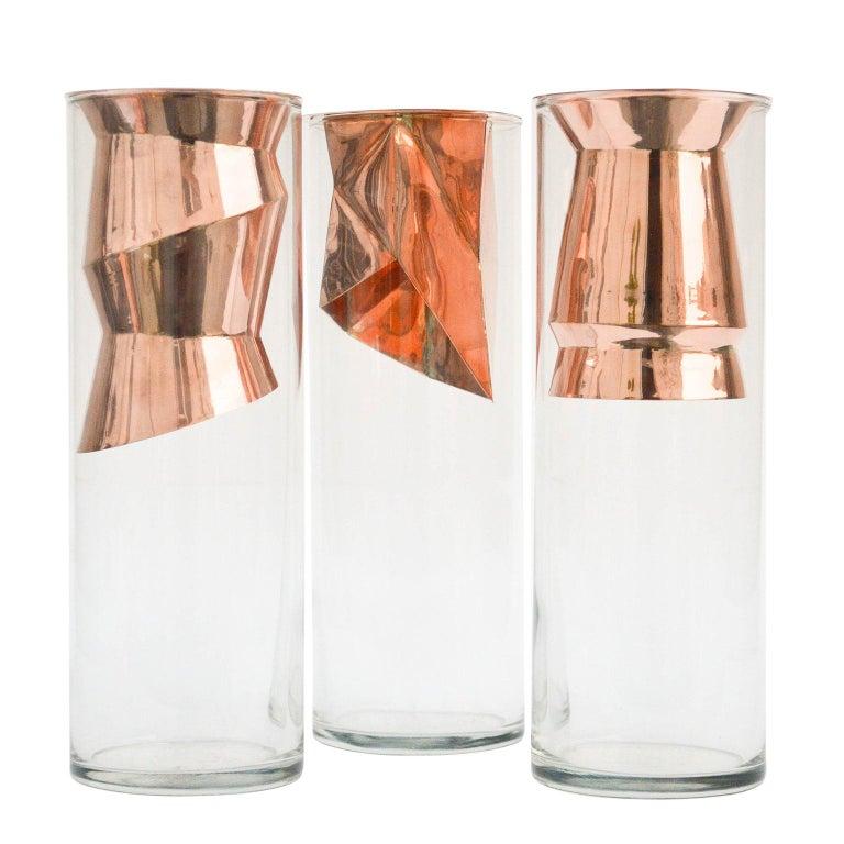 Golden Flower Vase Set I Cooper and Glass, Handcrafted in México For Sale