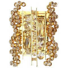 Golden Gilded Brass and Crystal Sconce by Palwa, Germany, 1960s