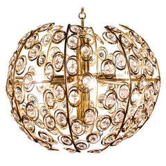 Golden Globe and Diamond Crystal Midcentury Chandelier by Gaetano Sciolari, 1960