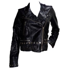 Golden Goose 2000s Distressed Leather Motorcycle Jacket