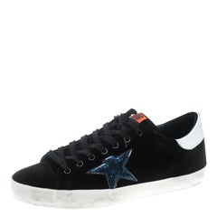 Golden Goose Black Velvet Superstar Sneakers Size 42