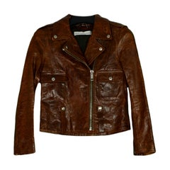 Golden Goose Deluxe Brand GGDB Brown Distressed Leather Moto Jacket sz S