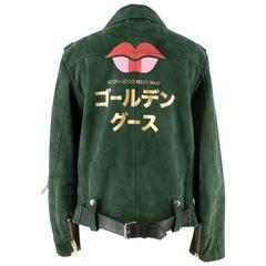 Golden Goose Deluxe Brand Green Suede Biker Jacket SIZE S