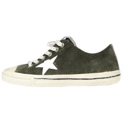 Golden Goose Deluxe Brand Military Green Suede V-Star Distressed Sneakers sz 41