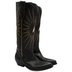 Golden Goose Handmade Wish Star Western Black Leather Boots US6