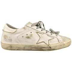 GOLDEN GOOSE Private SHoes Sport Size 10 White Leather Distressed SUPERSTAR Snea