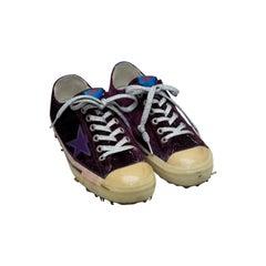 Golden Goose Purple Velvet Low-Top Sneakers