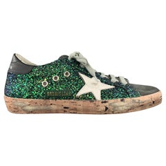 GOLDEN GOOSE Size 8 Green Glitter Suede Distressed SUPERSTAR Sneakers